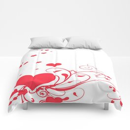 Red Valentine Hearts on A White Background Comforters