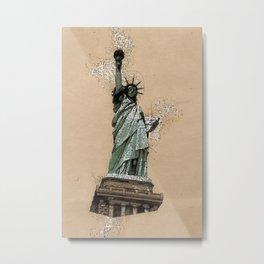 Statue of LIBERTY New York Monument Vintage Art Style Metal Print