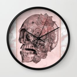 Rose Gold Marble Sparkle Skull Wall Clock