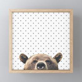 Bear - Gray Dots Framed Mini Art Print