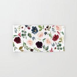 Burgundy Navy Blue Watercolor Flowers Hand & Bath Towel