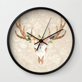 Boho vintage skull Wall Clock