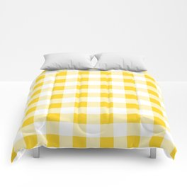 Yellow and White Buffalo Check Comforters