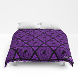 Kagome Greek Fret ... Purple Comforters