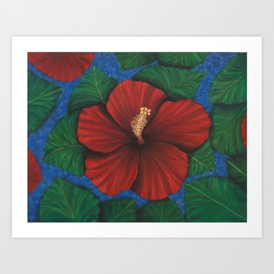 Tropical Hibiscus in Red island art painting Art Print