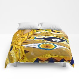 Ode to Klimt - Detail Portrait of Adele Comforters