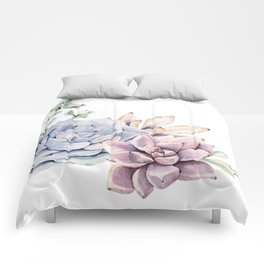 Pristine Succulents Blue and Pink Comforters