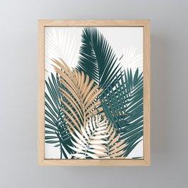 Gold and Green Palm Leaves Framed Mini Art Print