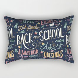 Back to school colorful typography drawing on blackboard with motivational messages, hand lettering Rectangular Pillow