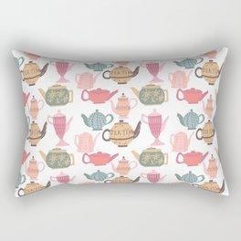 Vintage Tea Pots Time for Tea Multi on White Art Throw Pillow Rectangular Pillow