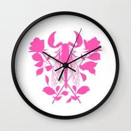 Pink locust of locust Tattoo w roses Wall Clock