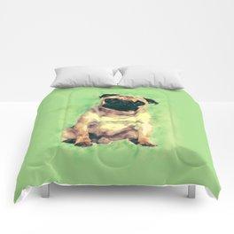 Cute Pug dog on gentle green Comforters