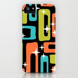 Retro Mid Century Modern Abstract Pattern 222 Orange Chartreuse Turquoise iPhone Case