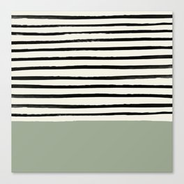 Sage Green x Stripes Canvas Print
