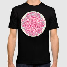 Spring Arrangement - floral doodle in pink & mint Mens Fitted Tee Black 2X-LARGE