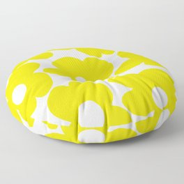Large Yellow Retro Flowers on White Background #decor #society6 #buyart Floor Pillow