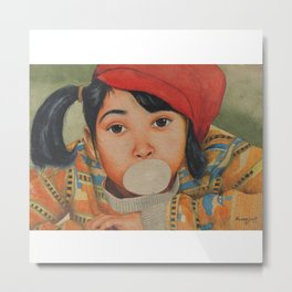 Naughty girl blowing and playing with Bubble Gum - in Watercolor Metal Print