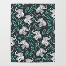 Laughing Baby Elephants – emerald and turquoise Poster