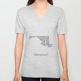 Maryland map Unisex V-Neck