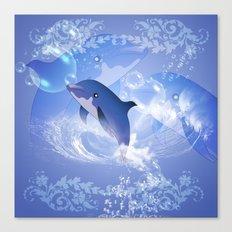 Funny cartoon dolphin Canvas Print