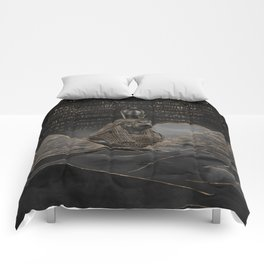 Horus on Egyptian pyramids landscape Comforters