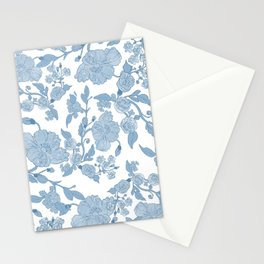 Modern White Blue Glitter Watercolor Floral Stationery Cards