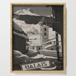 cartellone Valais Suisse voyage poster Serving Tray