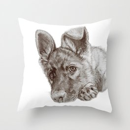 Patience :: A German Shepherd Puppy, Sepia Throw Pillow