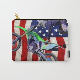 High Flying Freestyle Motocross Rider & US Flag Carry-All Pouch