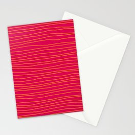 Hand Drawn Lines - Yellow / Dark Pink Stationery Cards