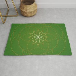 Minimalist Sacred Geometric Succulent Flower in Gold and Emerald Green  Rug