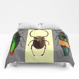 BEETLES ON CREAM & GREY  ABSTRACT ART Comforters