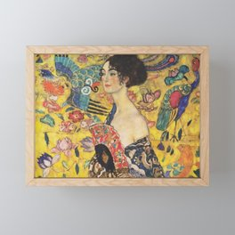 Gustav Klimt Lady With Fan  Art Nouveau Painting Framed Mini Art Print