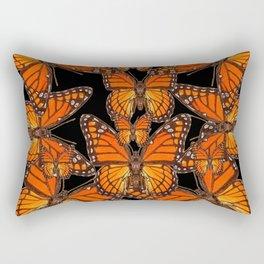 Monarch Butterflies Migration Black Pattern Art Rectangular Pillow