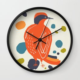 Quirky Helmeted Honeyeater Wall Clock