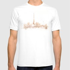 Watercolor landscape illustration_Paris Mens Fitted Tee MEDIUM White