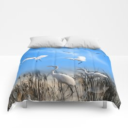 White Egrets in a Morning 1 Comforters