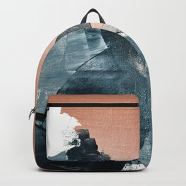 Renew: a minimal abstract piece in coral and blue by Alyssa Hamilton Art Backpack