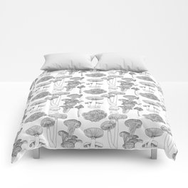 Mushrooms - black and white, illustration, kitchen, vintage, botanical, garden, ink, hand-draw Comforters