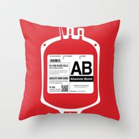 My Blood Type is AB, for Absolute Bomb! Throw Pillow
