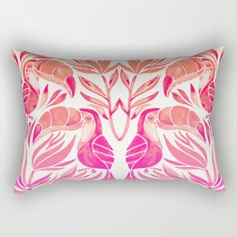 Tropical Toucans – Pink Ombré Palette Rectangular Pillow