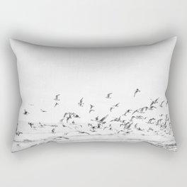 """Seagulls"" | Coastal black and white photo | Film photography | Beach Rectangular Pillow"