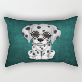 Dalmatian Puppy Wearing Reading Glasses on Blue Rectangular Pillow