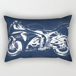 Motorcycle blueprint, 2012 Suzuki GSX-R1000, gift for men, valentine, plano de motocicleta Rectangular Pillow