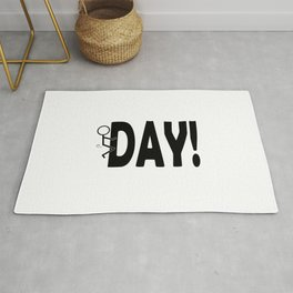 Hump Day - Humping Stickman Sarcasm Humor Black Typography Rug