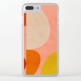 geometry shape mid century organic blush curry teal Clear iPhone Case