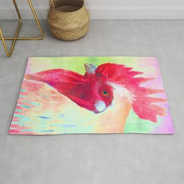 A Doodle Doo Two - Pastel Rooster Portrait Rug