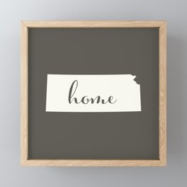 Kansas is Home - White on Charcoal Framed Mini Art Print