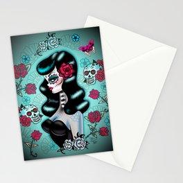 Rockabilly Raven Sugar Skull Girl Stationery Cards