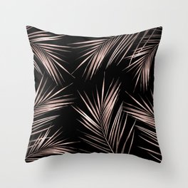 Rosegold Palm Tree Leaves on Midnight Black Throw Pillow